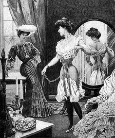 Women wore many layers of underwear. First, they wore a chemise, then a corset with a camisole or corset cover, then bustle that was tied around the waist, then her drawers. Edwardian Era, Edwardian Fashion, Vintage Fashion, Victorian Ladies, Vintage Outfits, Lingerie Vintage, Vintage Underwear, Vintage Girdle, Dark Art Drawings