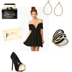 A little black dress with a gold envelope clutch, black and gold pumps, drop earrings, bangles & Dolce & Gabana perfume