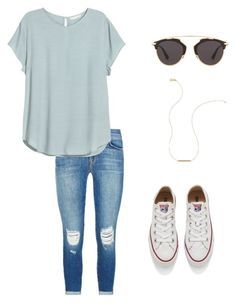 """""""Summer"""" by foglemanmary on Polyvore featuring J Brand, H&M, Converse, Christian Dior, Wish by Amanda Rose, women's clothing, women's fashion, women, female and woman"""