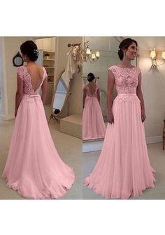 Pink Deep V-Back Lace Zipper Evening Dress, Sexy Appliques Long Prom Dress by fancygirldress, $126.00 USD
