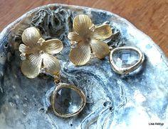 """Stud Earrings – Earrings,""""diamond"""" earrings framed in gold,flower – a unique product by lisaastrup on DaWanda"""
