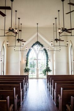 Elegant Lowcountry Wedding Inspiration at Montage Palmetto Bluff in Bluffton, South Carolina - The Celebration Society Bright White Chapel with Wooden Pews and Greenery Arch Window www. Hotel Wedding Venues, Chapel Wedding, Wedding Ceremony, Wedding Chapels, Wedding Chapel Decorations, Church Wedding, Rustic Wedding, Wedding Decor, 1920s Wedding