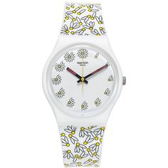 Swatch Women's Swiss Pick Me Multicolor Print Silicone Strap Watch... ($60) ❤ liked on Polyvore featuring jewelry, watches, white, white watches, colorful watches, multi color jewelry, colorful jewelry and white wrist watch