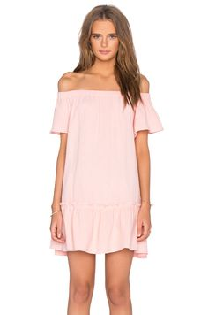 Rebecca Taylor Off The Shoulder Gauze Dress in Malibu Peach