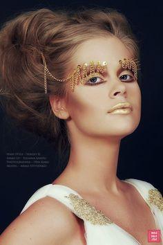 Makeup Art by Sandu Iuliana  Sandu | Fantasy and avant garde makeup. Golden | accesories | Lips.
