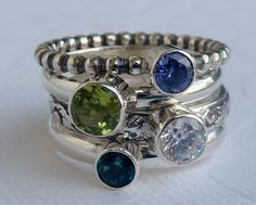 Birthstone Mothers  Rings /  Set of 4 / Faceted by GizmosTreasures, $159.00  I want it!