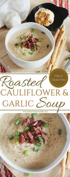 Roasted Cauliflower & Garlic Soup Perfect for family or a soup soup soup healthy recipes froide legumes minceur potimarron Cauliflower Soup Recipes, Roasted Garlic Cauliflower, Garlic Soup, Healthy Soup Recipes, Pasta Recipes, Vegetarian Recipes, Cooking Recipes, Roasted Califlower Soup, Recipes Dinner