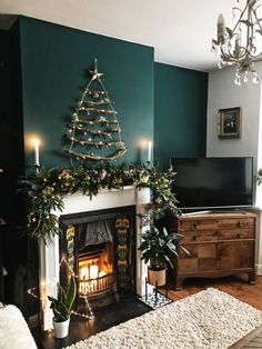The Twig tree and garland in place - a perfectly festive Living Room - April 14 2019 at Christmas Interiors, Christmas Living Rooms, Christmas Room, Cozy Christmas, Apartment Christmas, Homemade Christmas, Primitive Christmas, Country Christmas, Outdoor Christmas