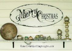 Vintage Merry Christmas sign with old world lettering  german glass glitter Cottage Chic Christmas sign inspired by vintage Christmas cards on Etsy, $85.00