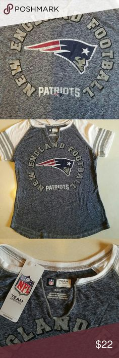 """New England Patriots Women's T-shirt Size S  NWT New England Patriots Women's T-shirt Size S NWT NFL Team Apparel. Washed out Blue with White sleeves and Grey stripes on sleeves. Bust 16"""" Waist 18"""" Length 22"""" Sleeves 9"""" NFL Team Apparel Tops Tees - Short Sleeve"""