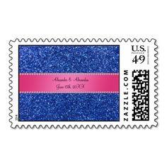 Blue glitter wedding favors postage stamp