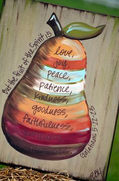 fruit of the spirit I have to have this for my kitchen!!!!! Don't like these colors/design but love the idea.