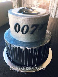 007 - James Bond cake - black and silver cake - ganache drip cake     Www.facebook.com/tinykitchencakery