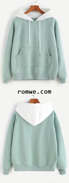 Green Raglan Sleeve Pocket Sweatshirt With Contrast Hood Pale Green Raglan Sleeve Pocket Sweatshirt With Contrast HoodPale Green Raglan Sleeve Pocket Sweatshirt With Contrast Hood Jugend Mode Outfits, Cute Jackets, Teen Fashion Outfits, Mode Hijab, Korea Fashion, Jogging, Hooded Sweatshirts, Ideias Fashion, Costume