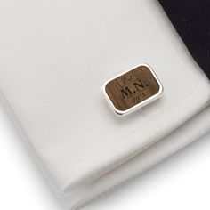 Custom birthday gift cufflinks Sterling silver American walnut Cufflinks with Birthday or your initials. FREE engraving great for Gift Idea, Birthday Gift, Groom, Wedding or any special occasion.