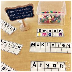We always start with lots of name activities the first week of school! You can g… - Everything About Kindergarten Kindergarten Name Activities, Kindergarten First Week, Preschool Names, Prek Literacy, Kindergarten Centers, Preschool Learning, Preschool Activities, Teaching, Name Writing Activities