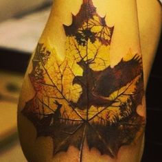 Maple Leaf And Flying Hawk Tattoo On Right Arm