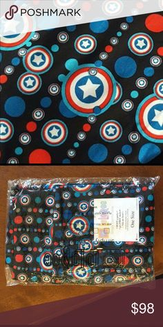 Captain America LuLaRoe leggings OS These BNWT never been tried on LuLaRoe leggings, size OS, resemble Captain America's logo!  HTF and oh so cute!  Where on the Fourth of July or at home while watching your favorite Marvel characters! These are sure to be your new fav pair! LuLaRoe Pants Leggings