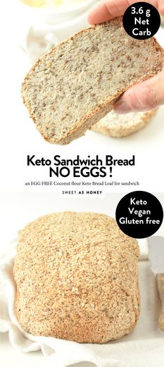 Learn how to make the best keto bread loaf without eggs! This egg free keto bread recipe takes only 20 minutes to make, only g net carbs. Keto Banana Bread, Best Keto Bread, Low Carb Bread, Low Carb Keto, Coconut Flour Bread, Almond Flour Recipes, Coconut Oil, Keto Cookies, Chip Cookies
