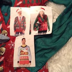 Ugly Christmas sweater (graphic) All three for 25 the family woman's medium men Both are medium one has a small black mark. this brand sells online and at Nordstrom can sell individually for 12 or all three for $25 Each Retails for $30.00 that's a $60 dollar value. I will ship same day  Faux Real Sweaters