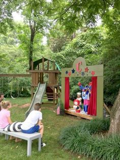 Our (DIY) Kids' Backyard Theater Summer fun: our DIY kids' backyard theater Related posts: ideas for diy kids backyard play area awesome 23 DIY Kids Halloween Costumes DIY Unicorn Card Craft für Kinder – Fun Activities For Kids Diy Paper Toys For Kids Kids Outdoor Play, Outdoor Play Areas, Kids Play Area, Backyard For Kids, Backyard Projects, Outdoor Fun, Diy For Kids, Outdoor Games, Outdoor Toys