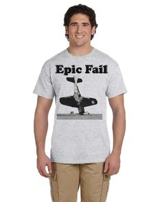 Epic FAIL Airplane Crash Screenprint White T-Shirt Vintage Design Unisex Mens Womens Tee Military Aviation Aircraft Carrier Photo Accident by TimeofReason on Etsy