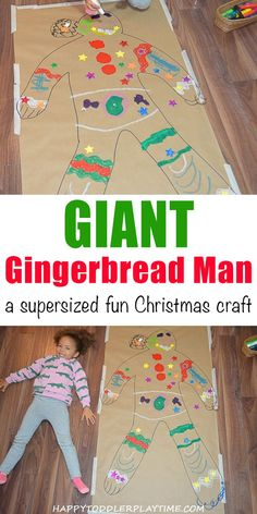Giant Gingerbread Man - HAPPY TODDLER PLAYTIME Create a life size gingerbread man (or girl!) in this super easy and fun Christmas craft activity! Your toddler, preschooler or kindergartner will love it! #christmascards #christmascraftsforkids #kidcrafts