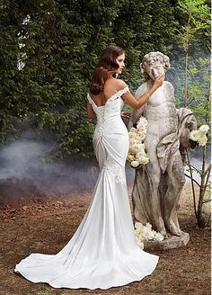 Buy discount Delicate Stretch Satin Off-the-shoulder Mermaid Wedding Dress With Beaded Lace Appliques at Dressilyme.com