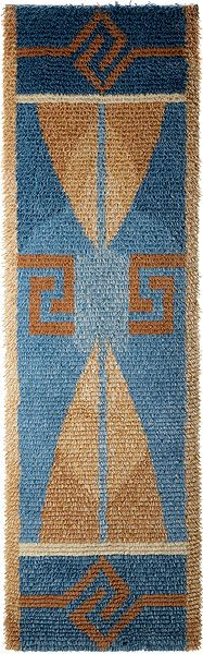 """AINO"" a lovely rug made in Finland. Finnish textiles, rugs & costumes too are all VERY unique and different from Norwegian, Danish and Swedish -- where historically line are blurred. Finland's language also is also said to be the most difficult language to learn. (It's the language Tolkien ripped off for ""the Ring"")"