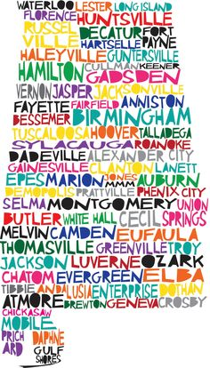 Soooo getting this, great gift idea too. She will even add ur city if its not already on there! ALABAMA Digital Illustration of Alabama State with by mollymattin, $15.00