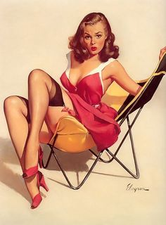 Pin-Ups & Calendar Girls for your Bachelor Pad: Picture Gallery devoted to Gil Elvgren's Pin-Up & Calendar Girls. Elvgren was one of the most important pin-up and glamour artists of t… Pin Up Vintage, Retro Pin Up, 50s Pin Up, Moda Vintage, Vintage Art, Collage Vintage, Vintage Girls, Vintage Beauty, Vintage Tops