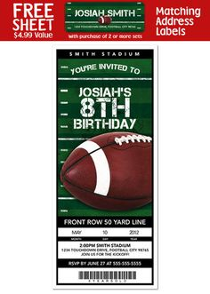 Front of parkers football birthday invite football party details about 6 football birthday party personalized ticket style invitations stopboris Images