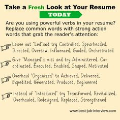 Resume action words to create a powerful and convincing resume. A full list of excellent resume action verbs to use in your job-winning resume and cover letter. Resume Advice, Resume Writing Tips, Resume Skills, Job Resume, Resume Ideas, Job Interview Answers, Job Interview Preparation, Job Interviews, Resume Action Words