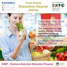 """""""The production of high quality cheese: turning raw material into an excellent finished product"""" http://www.cremonafoodvalley.com/courses/food-safety-saf/course/the-production-of-high-quality-cheese-turning-raw-material-into-an-excellent-finished-product.html — #Cremona #CEEP #Expo2015"""