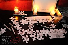 CUTE idea! puzzle pieces for guests to sign... Can I find one shaped like Oregon?!