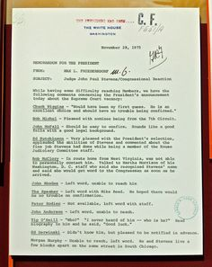 This White House memo (displayed at Ford's Presidential Library) summarizes Congressional reaction to the president's nomination of Judge John Paul Stevens to the United States Supreme Court.