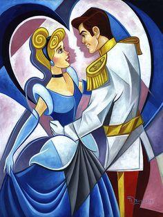 """So This Is Love"" by Tim Rogerson - Original Oil on Canvas,Disney #Cinderella #DisneyFineArt #TimRogerson"
