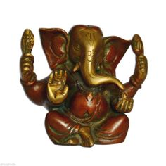 Sitting Lord Ganesha Handmade Brass Statues in Red & Gold Color