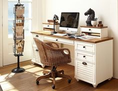 Small Space Living & Small Space Ideas Room 1 | Pottery Barn...I love this desk.