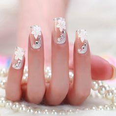 <img> Wedding DIY Nail Art Stickers Women's Fashion Full Nail Stickers Nail Decals - Sexy Nail Art, Sexy Nails, Nail Art Diy, Stiletto Nails, Fun Nails, Bright Summer Nails, Bridal Nail Art, Nagellack Design, Nail Art Stickers