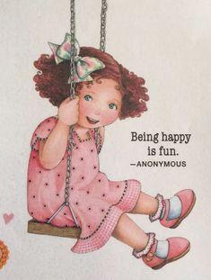 Being Happy-Handmade Fridge Magnet-Mary Engelbreit Artwork