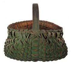 Late 19th or very early 20th century Green Buttocks Basket             ****