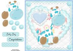 Adorable Blue Giraffe by Amy Perry Adorable Blue Giraffe in gorgeous heart and lace frame with corner buttons, also has decoupage and choice of tag Welcome New Baby, Printable Crafts, New Baby Boys, Quick Cards, Baby Cards, Giraffe, New Baby Products, Decoupage, Knitting Patterns