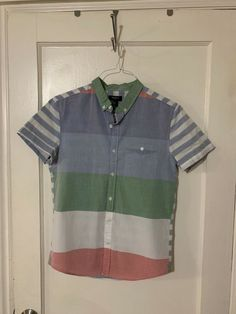 c56c116c370 Forever 21 striped button up (short sleeve size small blue green white  pink) #