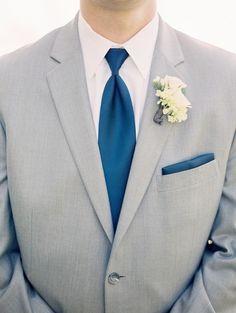 Gray suit with navy accessories: http://www.stylemepretty.com/little-black-book-blog/2015/07/22/classic-nautical-chesapeake-bay-club-wedding/ | Photography: Krista A. Jones - http://kristaajones.com/