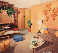 1956 living room design-love the world map out of wood on the wall