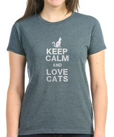 Look at this CafePress Charcoal Heather 'Keep Calm and Love Cats' Crewneck Tee on #zulily today!