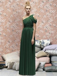 Emerald, cold-shoulder draped bridesmaid dress, Dessy group
