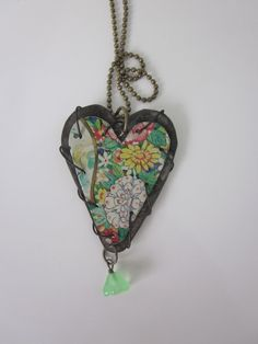 """Tin Jewelry Layered Heart Pendant """"Garden and Graphics"""" RESERVED for Mary Jane"""