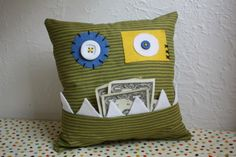 monster tooth fairy pillow ~Oakley picked this one. I can't wait to work on it this weekend~n